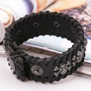 Other - NWT Black Skull Cross Bone Leather Bracelet